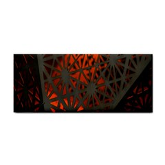 Abstract Lighted Wallpaper Of A Metal Starburst Grid With Orange Back Lighting Cosmetic Storage Cases