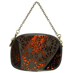 Abstract Lighted Wallpaper Of A Metal Starburst Grid With Orange Back Lighting Chain Purses (One Side)
