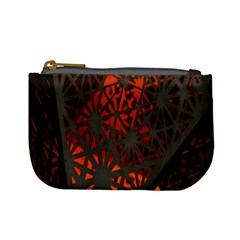 Abstract Lighted Wallpaper Of A Metal Starburst Grid With Orange Back Lighting Mini Coin Purses