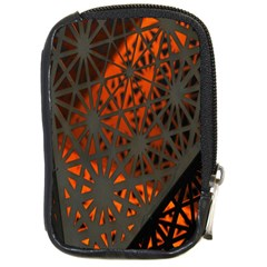 Abstract Lighted Wallpaper Of A Metal Starburst Grid With Orange Back Lighting Compact Camera Cases