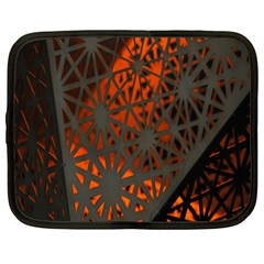 Abstract Lighted Wallpaper Of A Metal Starburst Grid With Orange Back Lighting Netbook Case (XL)