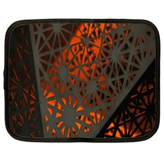 Abstract Lighted Wallpaper Of A Metal Starburst Grid With Orange Back Lighting Netbook Case (XXL)