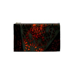 Abstract Lighted Wallpaper Of A Metal Starburst Grid With Orange Back Lighting Cosmetic Bag (Small)