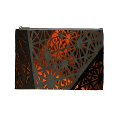 Abstract Lighted Wallpaper Of A Metal Starburst Grid With Orange Back Lighting Cosmetic Bag (Large)