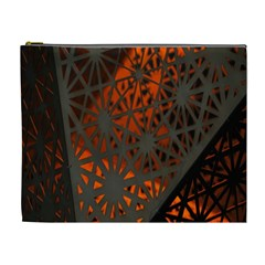 Abstract Lighted Wallpaper Of A Metal Starburst Grid With Orange Back Lighting Cosmetic Bag (xl)