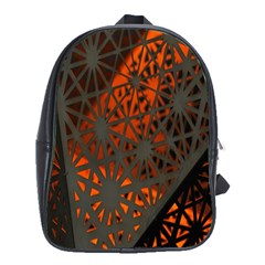 Abstract Lighted Wallpaper Of A Metal Starburst Grid With Orange Back Lighting School Bags(large)