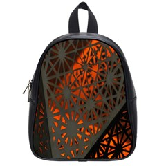 Abstract Lighted Wallpaper Of A Metal Starburst Grid With Orange Back Lighting School Bags (Small)