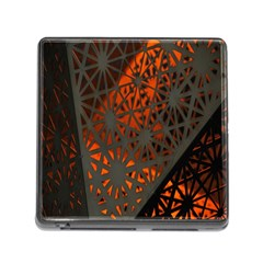 Abstract Lighted Wallpaper Of A Metal Starburst Grid With Orange Back Lighting Memory Card Reader (square)