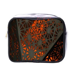 Abstract Lighted Wallpaper Of A Metal Starburst Grid With Orange Back Lighting Mini Toiletries Bags