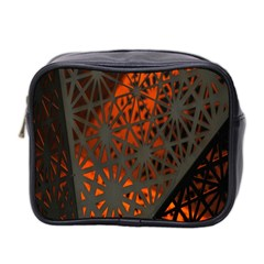 Abstract Lighted Wallpaper Of A Metal Starburst Grid With Orange Back Lighting Mini Toiletries Bag 2-Side