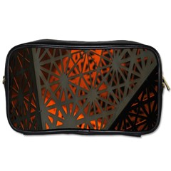 Abstract Lighted Wallpaper Of A Metal Starburst Grid With Orange Back Lighting Toiletries Bags