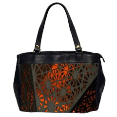 Abstract Lighted Wallpaper Of A Metal Starburst Grid With Orange Back Lighting Office Handbags (2 Sides)