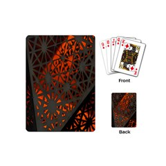 Abstract Lighted Wallpaper Of A Metal Starburst Grid With Orange Back Lighting Playing Cards (Mini)