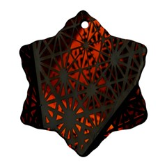 Abstract Lighted Wallpaper Of A Metal Starburst Grid With Orange Back Lighting Snowflake Ornament (Two Sides)
