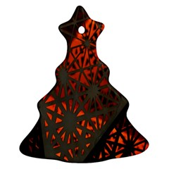Abstract Lighted Wallpaper Of A Metal Starburst Grid With Orange Back Lighting Christmas Tree Ornament (two Sides)