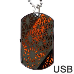 Abstract Lighted Wallpaper Of A Metal Starburst Grid With Orange Back Lighting Dog Tag USB Flash (One Side)