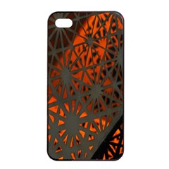 Abstract Lighted Wallpaper Of A Metal Starburst Grid With Orange Back Lighting Apple iPhone 4/4s Seamless Case (Black)