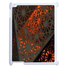 Abstract Lighted Wallpaper Of A Metal Starburst Grid With Orange Back Lighting Apple iPad 2 Case (White)