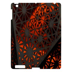 Abstract Lighted Wallpaper Of A Metal Starburst Grid With Orange Back Lighting Apple iPad 3/4 Hardshell Case