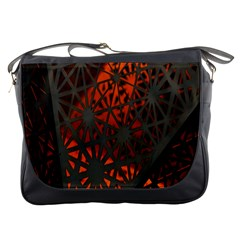Abstract Lighted Wallpaper Of A Metal Starburst Grid With Orange Back Lighting Messenger Bags