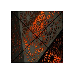 Abstract Lighted Wallpaper Of A Metal Starburst Grid With Orange Back Lighting Acrylic Tangram Puzzle (4  x 4 )