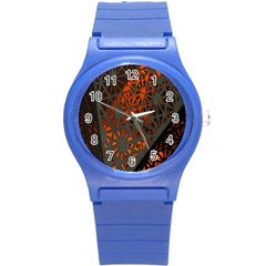 Abstract Lighted Wallpaper Of A Metal Starburst Grid With Orange Back Lighting Round Plastic Sport Watch (s)