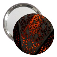 Abstract Lighted Wallpaper Of A Metal Starburst Grid With Orange Back Lighting 3  Handbag Mirrors
