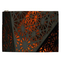 Abstract Lighted Wallpaper Of A Metal Starburst Grid With Orange Back Lighting Cosmetic Bag (xxl)