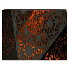 Abstract Lighted Wallpaper Of A Metal Starburst Grid With Orange Back Lighting Cosmetic Bag (xxxl)