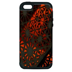Abstract Lighted Wallpaper Of A Metal Starburst Grid With Orange Back Lighting Apple Iphone 5 Hardshell Case (pc+silicone)