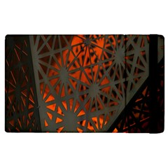 Abstract Lighted Wallpaper Of A Metal Starburst Grid With Orange Back Lighting Apple Ipad 2 Flip Case