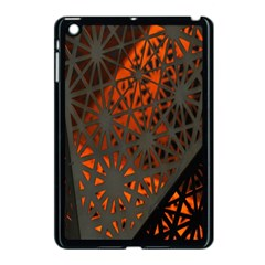 Abstract Lighted Wallpaper Of A Metal Starburst Grid With Orange Back Lighting Apple Ipad Mini Case (black)