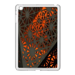Abstract Lighted Wallpaper Of A Metal Starburst Grid With Orange Back Lighting Apple iPad Mini Case (White)