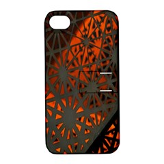 Abstract Lighted Wallpaper Of A Metal Starburst Grid With Orange Back Lighting Apple iPhone 4/4S Hardshell Case with Stand