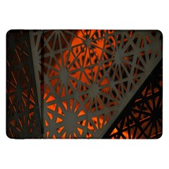 Abstract Lighted Wallpaper Of A Metal Starburst Grid With Orange Back Lighting Samsung Galaxy Tab 8 9  P7300 Flip Case