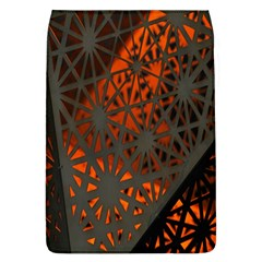 Abstract Lighted Wallpaper Of A Metal Starburst Grid With Orange Back Lighting Flap Covers (L)