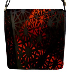 Abstract Lighted Wallpaper Of A Metal Starburst Grid With Orange Back Lighting Flap Messenger Bag (S)