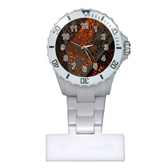 Abstract Lighted Wallpaper Of A Metal Starburst Grid With Orange Back Lighting Plastic Nurses Watch
