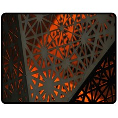 Abstract Lighted Wallpaper Of A Metal Starburst Grid With Orange Back Lighting Double Sided Fleece Blanket (Medium)