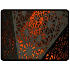 Abstract Lighted Wallpaper Of A Metal Starburst Grid With Orange Back Lighting Double Sided Fleece Blanket (Large)