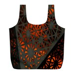 Abstract Lighted Wallpaper Of A Metal Starburst Grid With Orange Back Lighting Full Print Recycle Bags (L)  Front