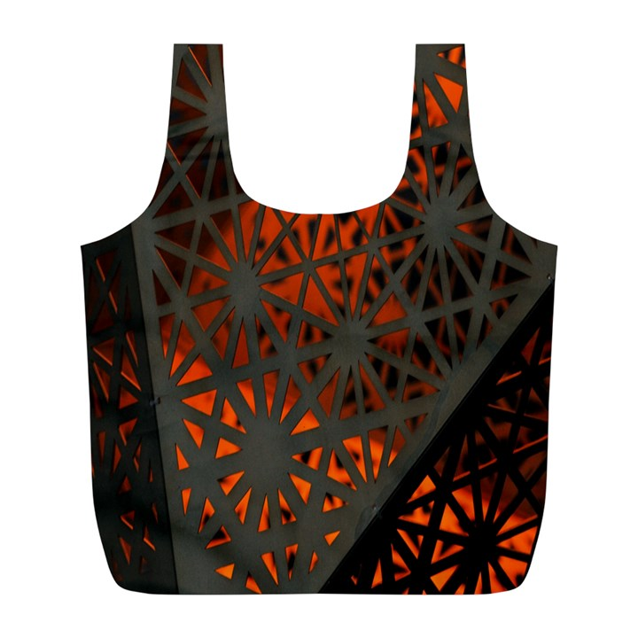 Abstract Lighted Wallpaper Of A Metal Starburst Grid With Orange Back Lighting Full Print Recycle Bags (L)