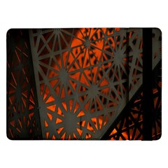 Abstract Lighted Wallpaper Of A Metal Starburst Grid With Orange Back Lighting Samsung Galaxy Tab Pro 12.2  Flip Case