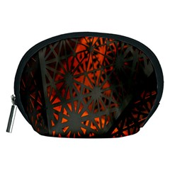 Abstract Lighted Wallpaper Of A Metal Starburst Grid With Orange Back Lighting Accessory Pouches (medium)
