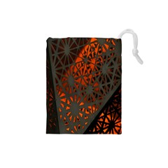 Abstract Lighted Wallpaper Of A Metal Starburst Grid With Orange Back Lighting Drawstring Pouches (Small)