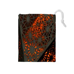 Abstract Lighted Wallpaper Of A Metal Starburst Grid With Orange Back Lighting Drawstring Pouches (Medium)