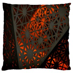 Abstract Lighted Wallpaper Of A Metal Starburst Grid With Orange Back Lighting Large Flano Cushion Case (one Side)