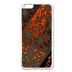 Abstract Lighted Wallpaper Of A Metal Starburst Grid With Orange Back Lighting Apple iPhone 6 Plus/6S Plus Enamel White Case