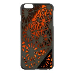 Abstract Lighted Wallpaper Of A Metal Starburst Grid With Orange Back Lighting Apple Iphone 6 Plus/6s Plus Black Enamel Case