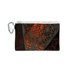 Abstract Lighted Wallpaper Of A Metal Starburst Grid With Orange Back Lighting Canvas Cosmetic Bag (S)